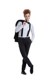 Beautiful red-haired woman posing in formal suit Royalty Free Stock Photos