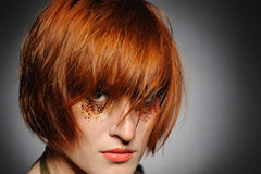 Beautiful Red Haired Woman With Creative Make-up Royalty Free Stock Images