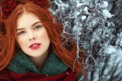 Beautiful red-haired young woman with perfect skin and make up posing on snowy and icy background royalty free stock photo
