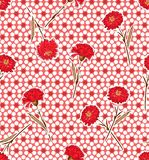Beautiful red hand drawn Carnation flowers seamless pattern vector on modern white polka dots and classic red spots background stock illustration