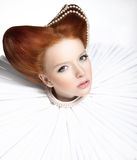 Beautiful Red Head Duchess in Jabot - Retro Style. Dramatic Theatrical Makeup. Masquerade Royalty Free Stock Photo