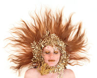 Beautiful Red Head Woman With Bronze Extreme Makeu stock photo
