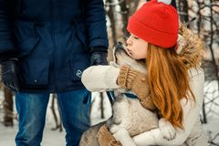 Beautiful red head woman is hugging and kissing lovely siberian husky at the background of the man. Winter time. Royalty Free Stock Photos