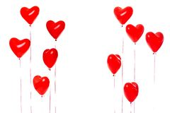 Beautiful red heart balloons stock image