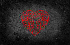 Beautiful Red Heart on Black Background Royalty Free Stock Photos
