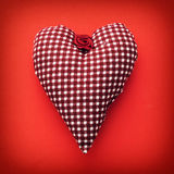 Beautiful red heart of fabric Royalty Free Stock Photo