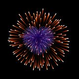 Beautiful red heart-firework. Romantic firework, isolated on black background. Light love decoration salute for. Valentine Day celebration. Symbol of holiday Royalty Free Stock Photos