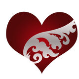 Beautiful red heart with ornament Stock Images