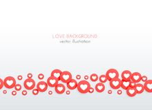 Beautiful red heart scattered round icons background. Illustration Royalty Free Stock Photos