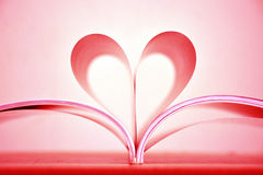 Beautiful red heart shape of book pages. Royalty Free Stock Images