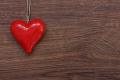Beautiful red heart on string Stock Photography