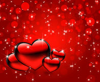 Beautiful red hearts background Stock Images