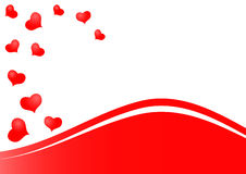 Beautiful red hearts background as symbol of love. Beautiful red hearts as symbol of love isolated on white background with red waves Stock Photo