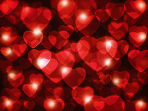 Beautiful red hearts lens background. Vibrant colors Stock Photo