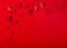 Beautiful red hearts valentine's day. Red hearts on a red background valentine's day Royalty Free Stock Photos