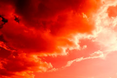 Beautiful Red hot over Cloud sky abstract background Stock Photography