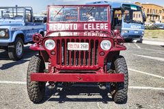 A beautiful red Jeep Willys MB used in the Celere Department of Italian Police