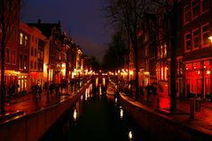 Free Beautiful Red Light District In Downtown Amsterdam Royalty Free Stock Photos - 4475548