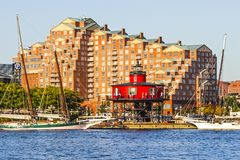 Beautiful Red Lighthouse in Fells Point stock photo