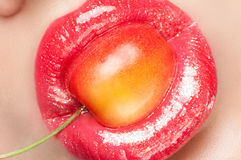 Beautiful red lips. Royalty Free Stock Photo