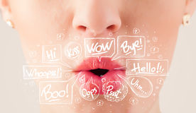 Beautiful red lips with white speech bubbles Stock Photos