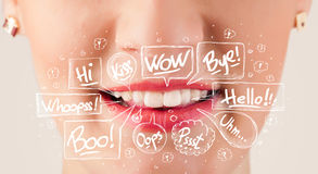 Beautiful red lips with white speech bubbles Royalty Free Stock Photos