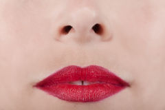 Beautiful red lips woman Stock Photo