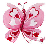 Beautiful red loveheart butterfly painting on white. Beautiful and original red loveheart butterfly and flying heart painting. Isolated on white stock illustration