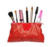 Beautiful red makeup bag and cosmetics Stock Photography