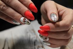 beautiful red manicure Royalty Free Stock Images