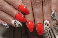 beautiful red manicure Stock Image