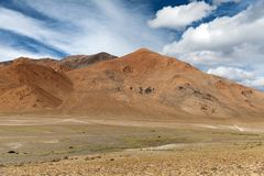 Beautiful red mount, typical landscape in Rupshu Valley Stock Images
