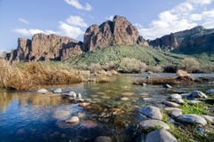 Beautiful red mountain and stream in Arizona Stock Photography