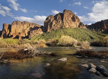 Beautiful red mountain and stream in Arizona Royalty Free Stock Photography
