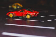 Toy Car, Muscle Red Sports Car. royalty free stock photo