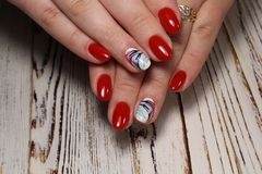 beautiful red nails stock photography