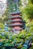 Beautiful red pagoda in Japanese garden of Golden Gate park Stock Photos