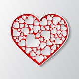 Vector red paper cut out heart with white frame and with many small white hearts. Beautiful red paper cut out heart with white frame and with many small white Stock Photo