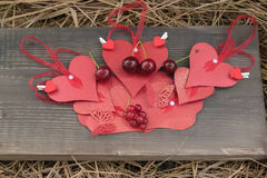 Beautiful red paper hearts Royalty Free Stock Photography