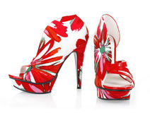 Beautiful red pattern shoes Stock Photography