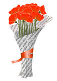 Beautiful Red Poppies in Newspaper Illustration Stock Photos
