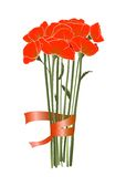 Beautiful Red Poppies with Ribbon Royalty Free Stock Photos