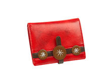 Beautiful red purse. Isolated on white background Stock Images