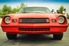 Beautiful red retro Chevrolet in the parking lot Royalty Free Stock Photos