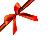 Beautiful, red ribbon. A red ribbon with a knot isolated on white Royalty Free Stock Photos