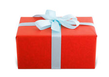 Beautiful red ribbon. Wrapping on white Stock Photos