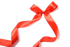 Beautiful red ribbon and bow, good for design. Isolated on a white background Stock Images