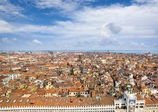 Beautiful red roof aerial panorama of Venice Royalty Free Stock Image