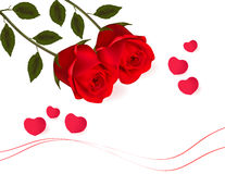 Beautiful red rose with a bow. Vector Stock Photo