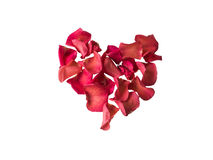 Beautiful Red rose petals heart. Isolated on white background Royalty Free Stock Image